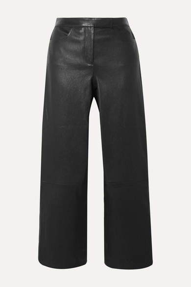 Theory Cropped Leather Bootcut Pants - Black