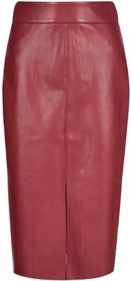 Dorothy Perkins Womens Burgundy Pu Midi Skirt