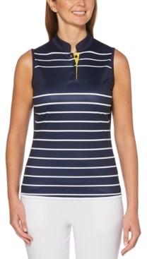 PGA Tour Sleeveless Striped Golf Polo