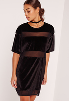 Missguided Petite Velvet Mesh Panel Dress Black