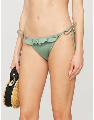 LOVE Stories Vanity ruffled-trim mid-rise bikini bottoms