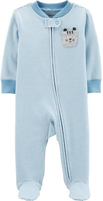 Carter's Baby Striped Cat Zip-Up Stretch Sleep & Play