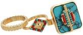 Steve Madden Three-Piece Diamond Shape/Green Square Stone/Band Ring Set Ring