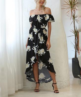 Suvimuga Women's Maxi Dresses Black - Black & White Floral Tie-Waist Off-Shoulder Hi-Low Maxi Dress - Women