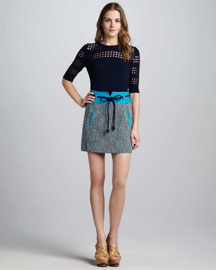 Milly Cutout-Stripe Sweater