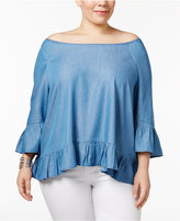 Style&Co. Style & Co Plus Size Off-The-Shoulder Ruffled Top, Created for Macy's
