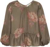 The Great Ruffled floral-print silk crepe de chine top