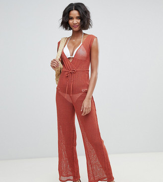 Akasa Exclusive grid mesh beach jumpsuit in spice-Black