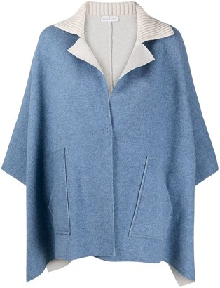 Bruno Manetti Notched-Lapel Knitted Cape