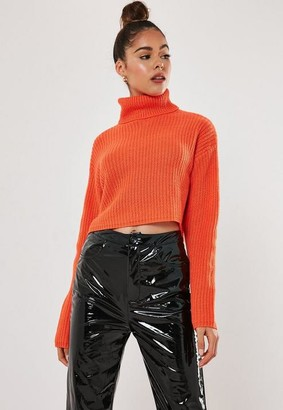 Missguided Coral Turtle Neck Cropped Sweater