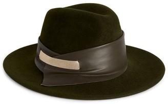 MARZI Leather-Trim Trilby Hat