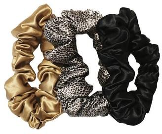 Pottery Barn Slip Silk Large Scrunchies - Leopard, Gold, Black