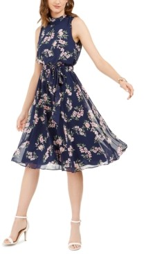 Harper Rose Floral-Print Tie-Belted Dress
