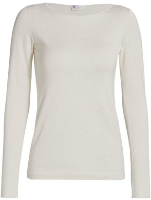 Brunello Cucinelli Cashmere & Silk Lurex Boatneck Sweater