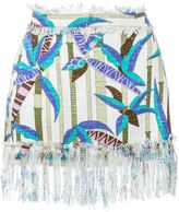 MSGM printed frayed skirt - women - Cotton/Viscose/Polyester - 42