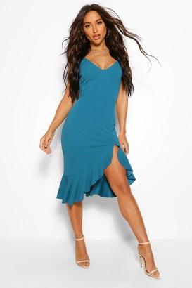 boohoo Strappy Frill Hem Midi Dress