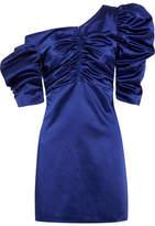 Isa Arfen Cold-shoulder Ruched Cotton-blend Satin Mini Dress