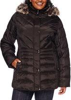 Liz Claiborne Side-Panel Puffer Jacket with Faux-Fur Hood - Plus