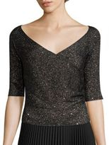 Lafayette 148 New York Sequin Off-The-Shoulder Sweater