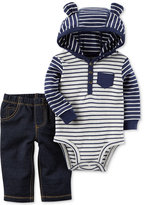 Carter's 2-Pc. Cotton Striped Hooded Bodysuit & Jeans Set, Baby Boys (0-24 months)