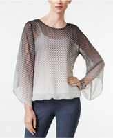 Alfani Petite Printed Angel-Sleeve Top, Only at Macy's