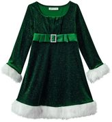 Bonnie Jean Girls 4-6x Velvet Stretch Empire Santa Dress