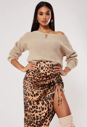 Missguided Petite Stone Off Shoulder Knitted Jumper
