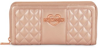 Love Moschino Quilted Faux Leather Zip-Around Wallet