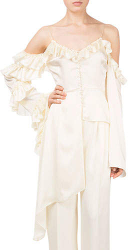 Magda Butrym Pireus V-Neck Cold-Shoulder Side Ruffle Silk Blouse