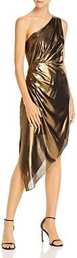 Ramy Brook Susanna Asymmetric Gold Lame Dress