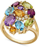 Macy's Multi-Gemstone (5 ct. t.w.) and Diamond Accent Cluster Ring in 10k Gold