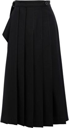Joseph Fleet Pleated Twill Midi Wrap Skirt