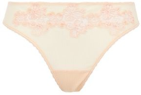 La Perla Embroidered Stretch-tulle Mid-rise Thong