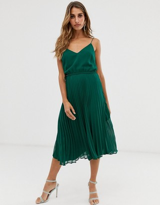 Asos Design DESIGN pleated cami midi dress with drawstring waist-Green