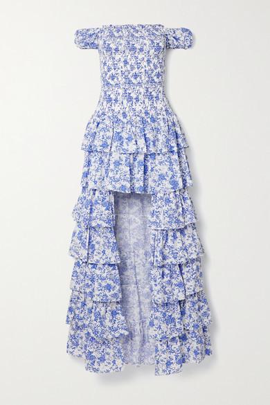 Caroline Constas Malta Shirred Tiered Floral-print Cotton-poplin Gown - White