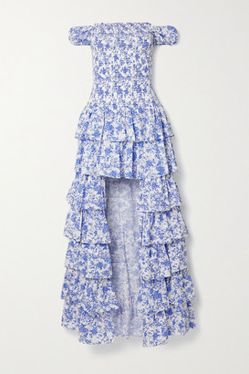 Caroline Constas Malta Shirred Tiered Floral-print Cotton-poplin Gown - White