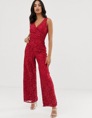 Little Mistress lace sleeveless mock wrap jumpsuit-Red