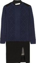 Sacai Luck satin-trimmed wool mini dress