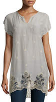 Johnny Was Seal Short-Sleeve Long Lace-Hem Tunic, Plus Size