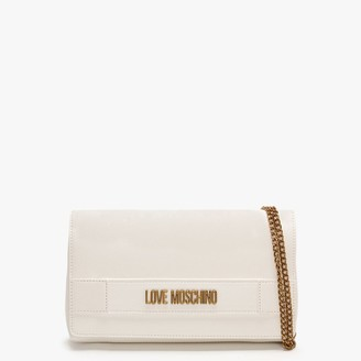 Love Moschino Front Flap White Cross-Body Bag