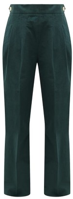 Chimala Double-pleat Cotton Wide-leg Trousers - Dark Green