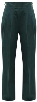 Chimala Double-pleat Cotton Wide-leg Trousers - Womens - Dark Green