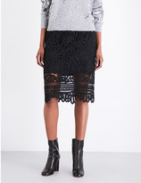 Mo&Co. Lace-embroidered woven skirt