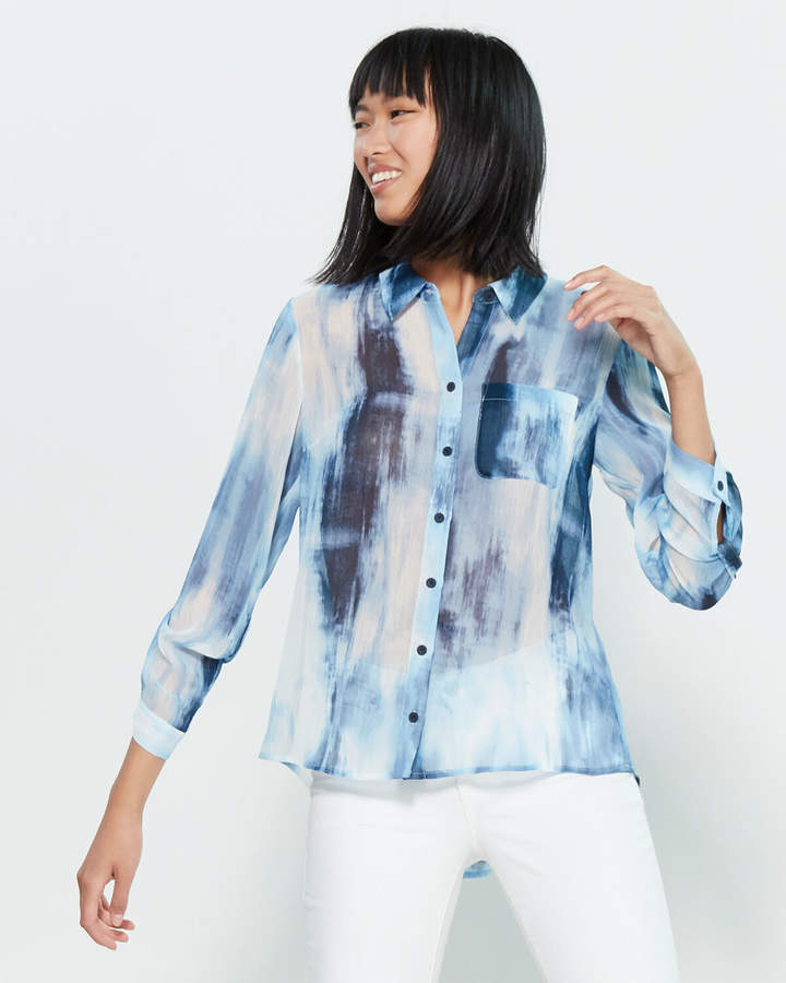 Tommy Hilfiger Long Sleeve Tie-Dye Sheer Shirt