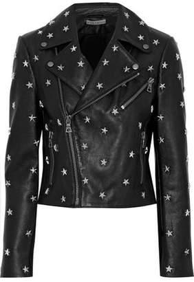Alice + Olivia Cody Studded Leather Biker Jacket
