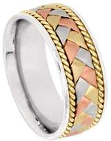 American Set Co. Men's Tri-Color Platinum & 18k White Yellow Rose Gold Braided 8.5mm Comfort Fit Wedding Band Ring size 4