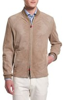 Kiton Perforated Suede Bomber Jacket, Tan