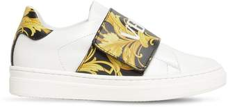 Versace Strap Leather Sneakers W/ Logo Print