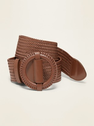 Old Navy Braided Faux-Leather O-Ring Belt for Women (2-inch)
