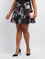 Charlotte Russe Plus Size Metallic Floral Skater Skirt